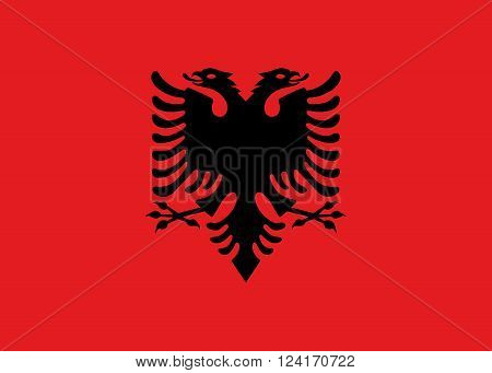 National flag of Albania authentic color and scale version