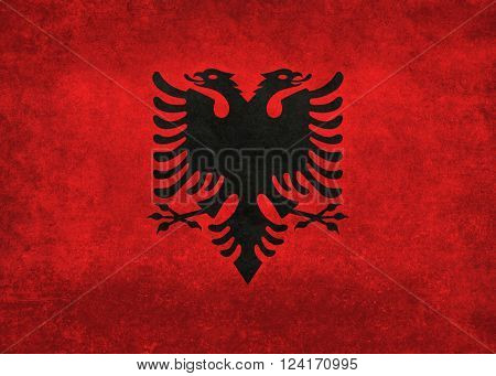 National flag of Albania with distressed vintage treatment