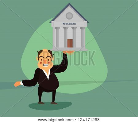 smiling businessman in a tuxedo raises one arm of the bank building.Vector illustrations. EPS 10