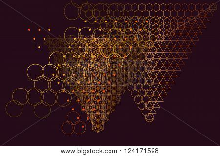 Sacred geometry symbols and elements background. Alchemy, religion, philosophy, astrology and spirituality themes. Matter, space and time. Science in Universe. Golden ratio.