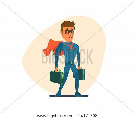 Superman in a blue suit black mask on his face and a red developing cloak holding bags of money.Vector illustrations. EPS 10