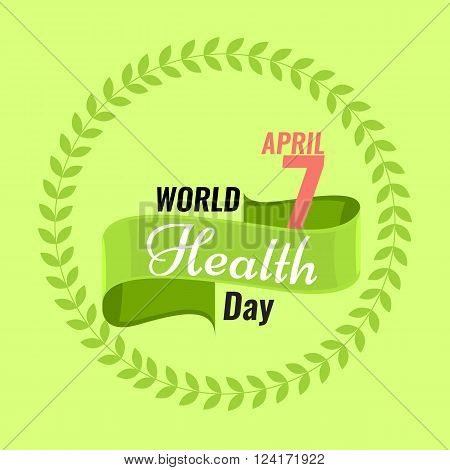 Creative sign or logo for 7 April - World Health Day Greeting stock vector. Green ribbon banner. Solid flat color design for Health Day concept