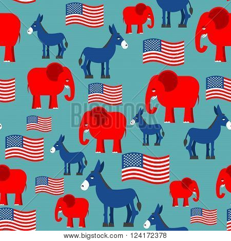 Elephant and Donkey seamless pattern. Texture for election and debate in America. American flag. Political background. patriotic ormanent
