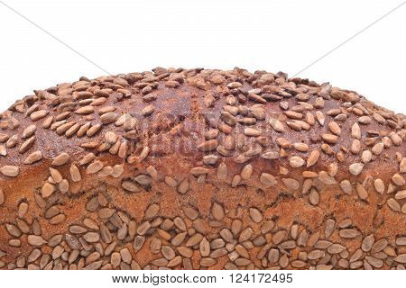 sunflower seed bread closeup isolated on white