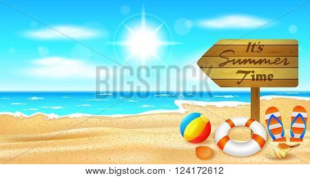 vector illustration of Beach and tropical sea with bright sun