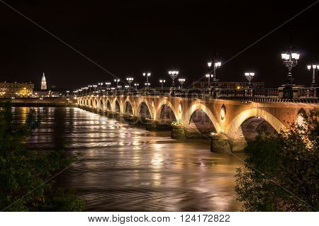 Pont de Pierre in Bordeaux in the night Aquitaine France