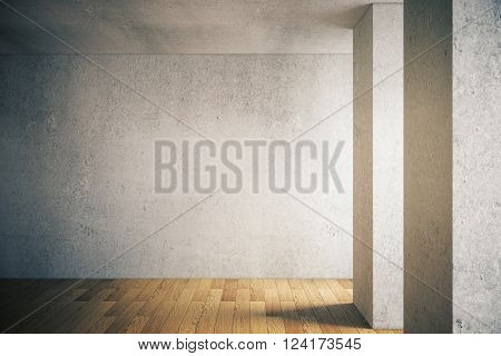 Concrete Wall And Wooden Floor