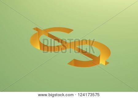 Dollar Sign On Green