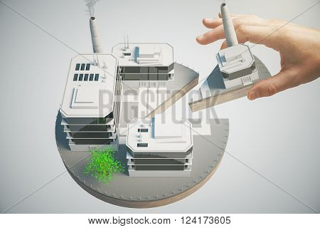 Shareholder concept with hand taking piece of business pie. 3D Rendering