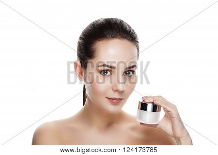 Beauty Portrait Of Pretty Girl With Natural Makeup Hold Face Cream. Commercial Photo For Promotion C
