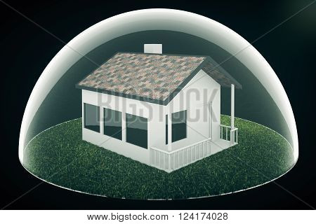 Real estate bubble on dark background. 3D Render
