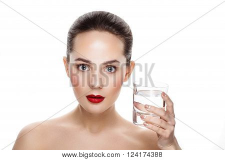 Beauty Portrait Of Pretty Girl With Natural Makeup And Glass Of Still Water. Commercial Photo For Pr