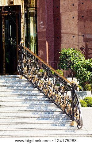 Marble Stairs With Iron Railing
