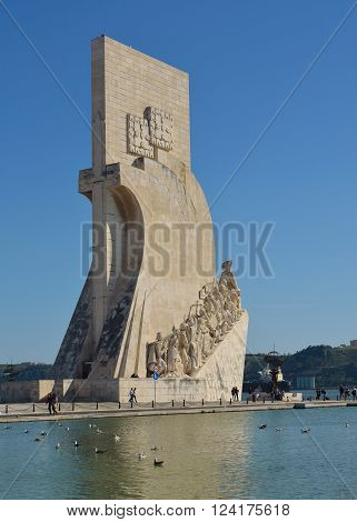 Lisbon, Portugal - March 03, 2016: Monument to the Discoveries Belem district Lisbon Portugal.