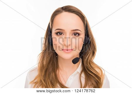 Close Up Portrait Of Young Cheerful Agent Of Call Centre