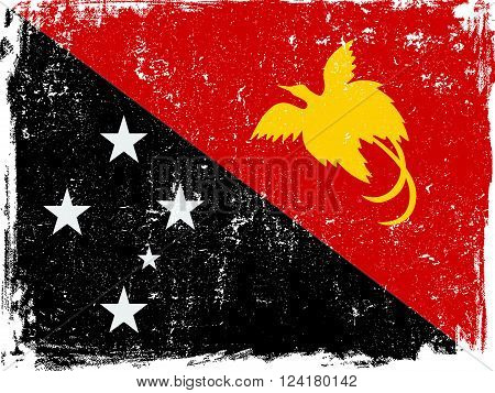 Papua New Guinea vector grunge flag isolated on white background.