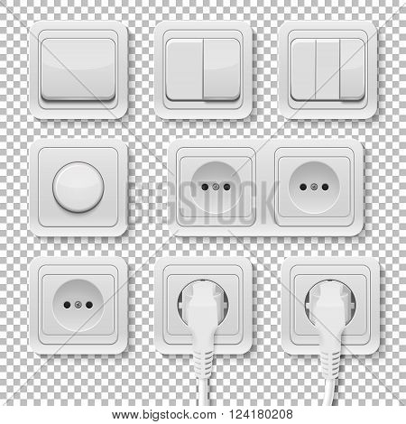 Set of realistic plastic power sockets and switches.  Isolated. Vector EPS10 illustration.