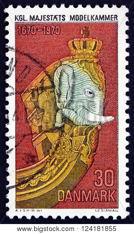DENMARK - CIRCA 1970: a stamp printed in Denmark shows Elephant Figurehead Royal Naval Museum Tercentenary circa 1970