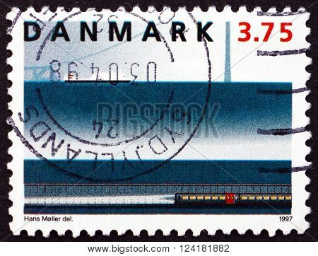DENMARK - CIRCA 1997: a stamp printed in Denmark shows East Tunnel Great Belt Railway Link circa 1997
