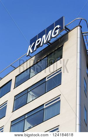 PRAGUE, CZECH REPUBLIC - MARCH 31: Professional service company KPMG logo on the building of the Czech headquarters on March 31, 2016 in Prague, Czech republic.