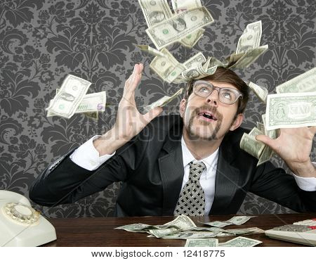 Nerd Businessman Retro Office Flying Dollar Note