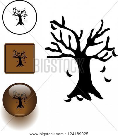 tree with falling leaves symbol sign and button