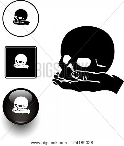 skull in hand symbol sign and button