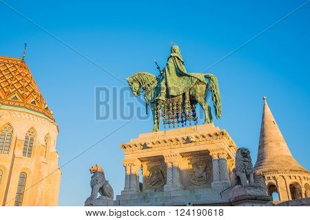 Saint Stefan Statue at Fisherman's Bastion in Budapest Hungary with Clear Blue Sky in Background