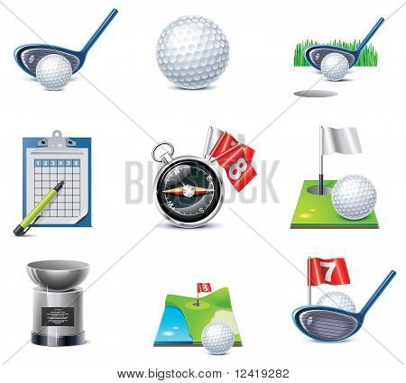 Conjunto de iconos de Vector golf