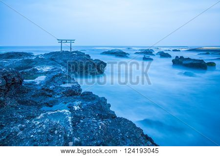 Japanese shrine gate and sea at Oarai city Ibaraki