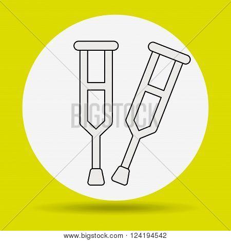 crutches icon design, vector illustration eps10 graphic