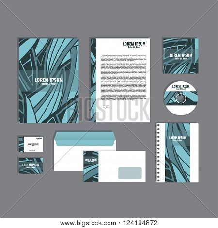 Corporate identity template with hand drawn blue exotic tropical leaf pattern, creative stationery branding mock-up set of separated, movable objects. EPS 10.