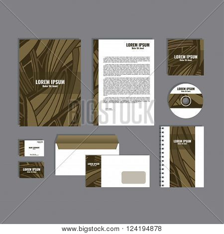 Corporate identity template with hand drawn brown exotic tropical leaf pattern, creative stationery branding mock-up set of separated, movable objects. EPS 10.