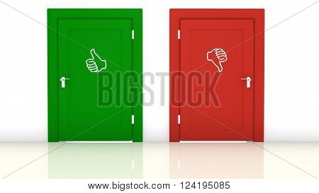 A red door with a thumbs down and a green door with thumbs up symbol 3D illustration