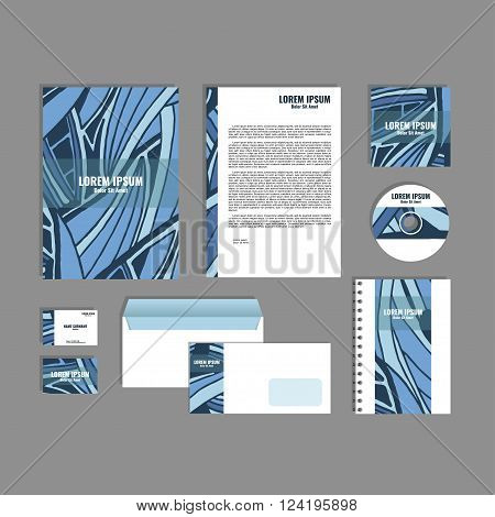 Corporate identity template with hand drawn dark blue exotic tropical leaf pattern, creative stationery branding mock-up set of separated, movable objects. EPS 10.