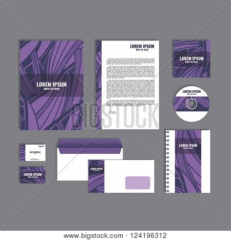 Corporate identity template with hand drawn purple exotic tropical leaf pattern, creative stationery branding mock-up set of separated, movable objects. EPS 10.