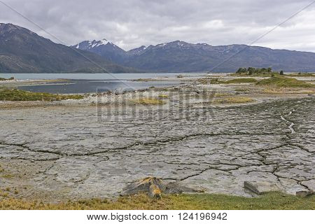 Glacial Mud Flats at Low Tide in Tierra del Fuego in Chile