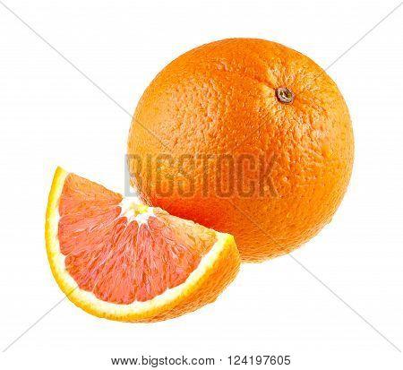 Orange fruit and one segment isolated on white.