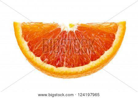 Juicy orange slice isolated on white background