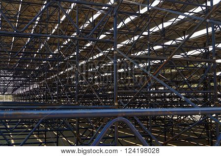 Structure of Grandstand made from steel, stadium.