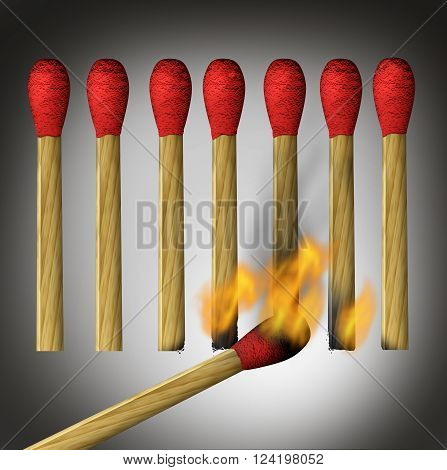 Different business way as a concept for indirect access to achieving a goal or outside the box thinking as a match lighting up the bottom of the flamable object.