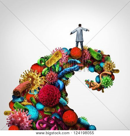 Disease struggle and immunology medical health concept as a doctor riding a dangerouse wave made of bacteria virus and cancer cells as a healthcare symbol for pathology and research into finding a cure.