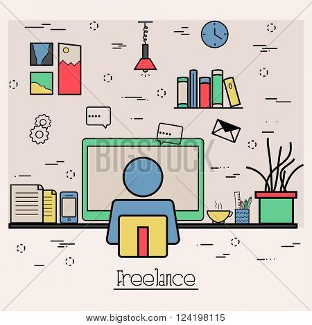 Modern flat style illustration of Business Freelance, Outsource Working Service, Remote co-working space. Hero Image concept, Website Elements layout.One Page template layout.