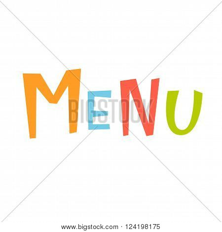 Menu vector lettering. Menu lettering isolated on white background. Text vector illustration. Menu word and flowers. Menu inscriptition