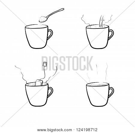 Tea Brewing Vector Set, a hand drawn vector illustration set of tea brewing method.
