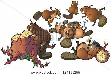 Vector Cartoon Clip Art of a group of cute beavers having a party or celebrating. The file is organized into layers for easy editing.