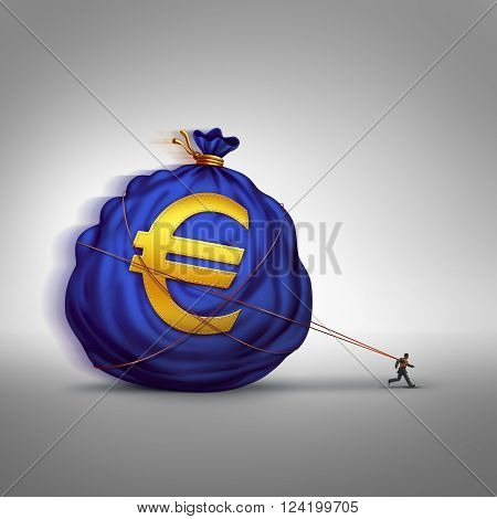 European financial stress managing wealth business concept as a businessman dragging a big bag of euro currency as a financial metaphor for finance management or debt burden in the Europe economy.