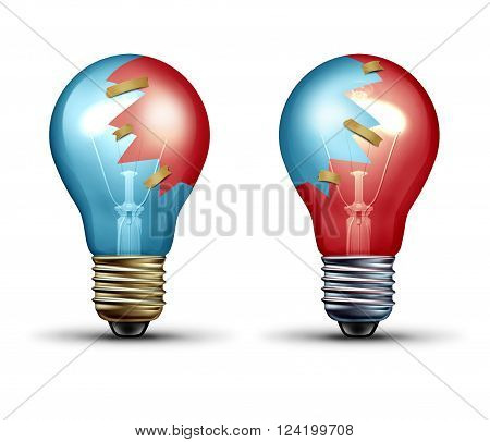 Idea trade concept as two light bulbs or lightbulb icons with shared pieces of glass as a teamwork and Leadership symbol representing working together as an equal creative team in partnership.