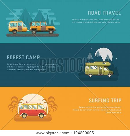 RV camping banners. Car summer trip backgrounds. Auto travel internet page. Mountain park palm beach and road trip templates with place for text. Traveler bus SUV and camper trailer concept cards.