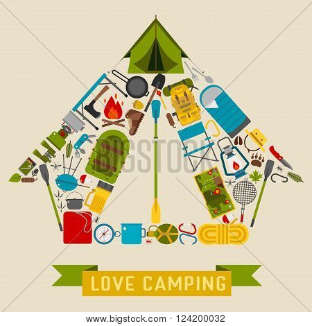Camp icons in tourist tent shape. Love camping concept with vector hiking elements.
